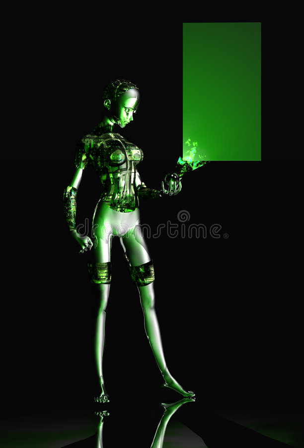 Android girl. With green circuts royalty free illustration