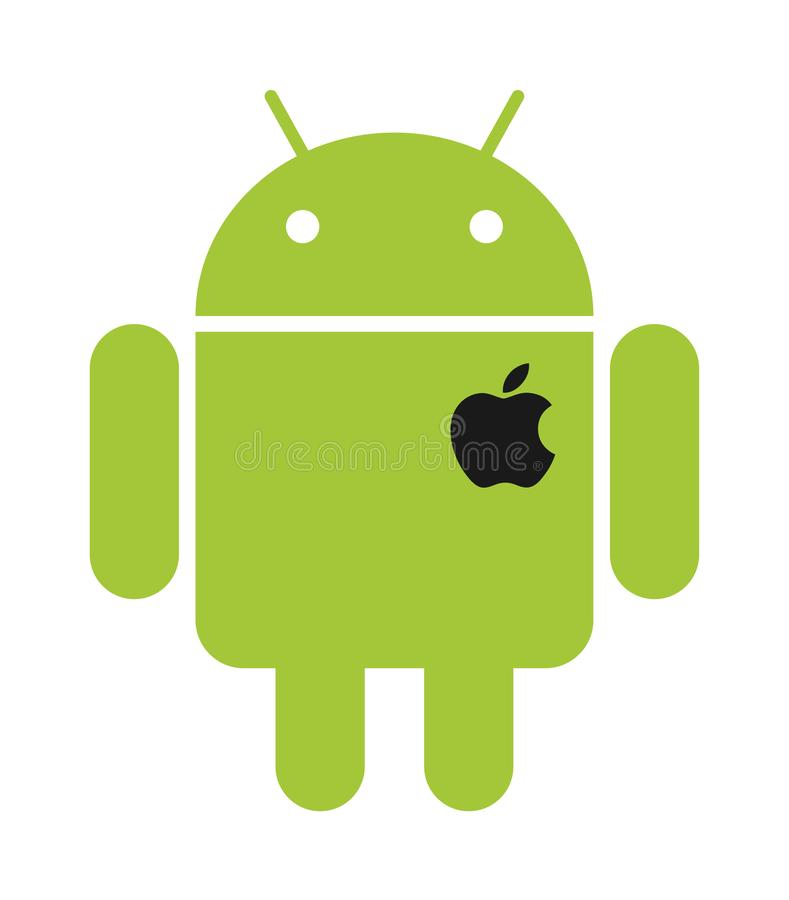 Android green robot with apple heart logo vector illustration