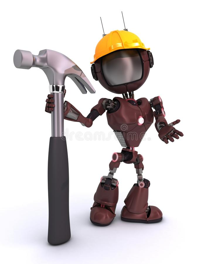 Android with hammer. 3D Render of an Android with hammer royalty free illustration