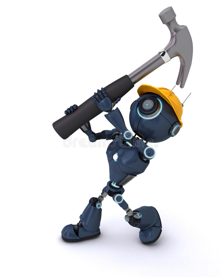 Android with hammer. 3D Render of an Android with hammer vector illustration