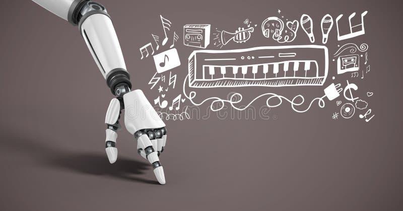 Android hand som pekar med grafiska teckningar för musik royaltyfri illustrationer