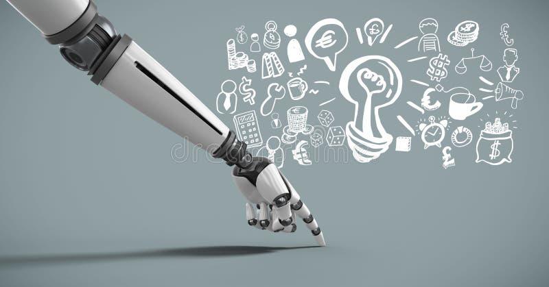 Android hand som pekar med idékläckning av ideer- och affärsdiagramteckningar royaltyfri illustrationer