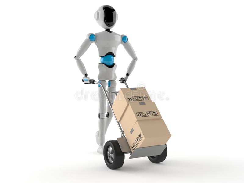 Android with hand truck royalty free illustration