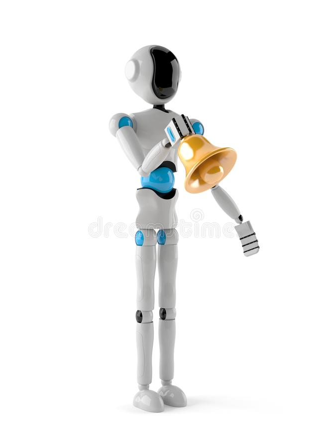 Android with handbell. Isolated on white background stock illustration