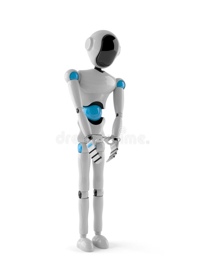 Android in handcuffs. On white background vector illustration