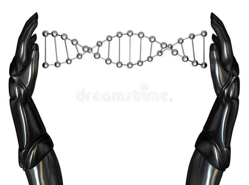 Android Hands Create DNA String 03 Stock Photos