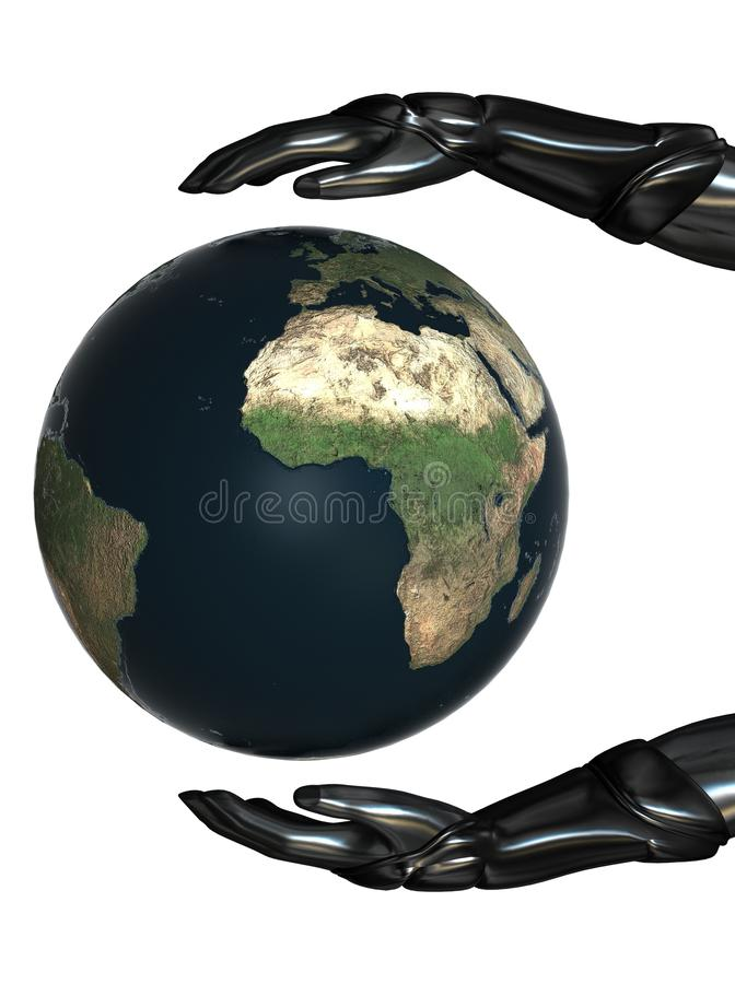 Download Android Hands Keep Earth Globe Safe 04 Stock Illustration - Image: 20584695
