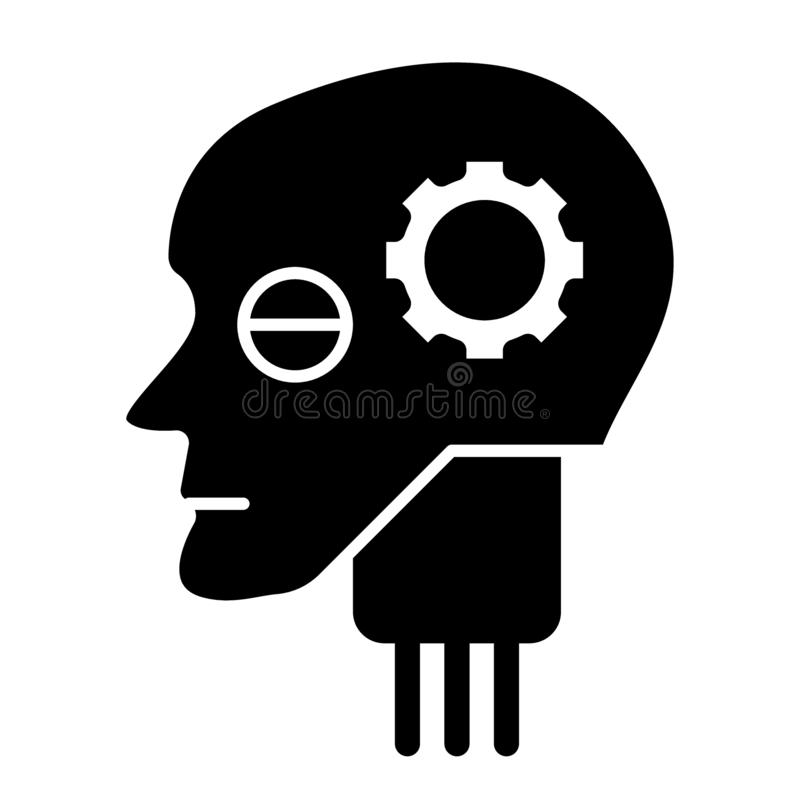 Android head with gear solid icon. Artificial intelligence vector illustration isolated on white. Robot head glyph style royalty free illustration