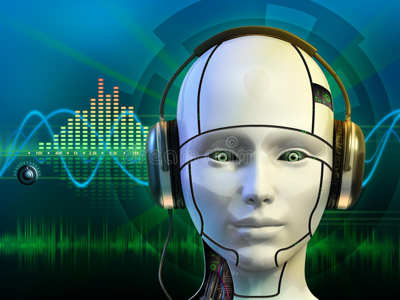 Android with headphones. Android head wearing some headphones. Digital illustration vector illustration