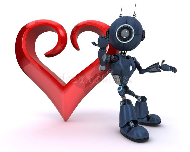 Android with Heart stock illustration