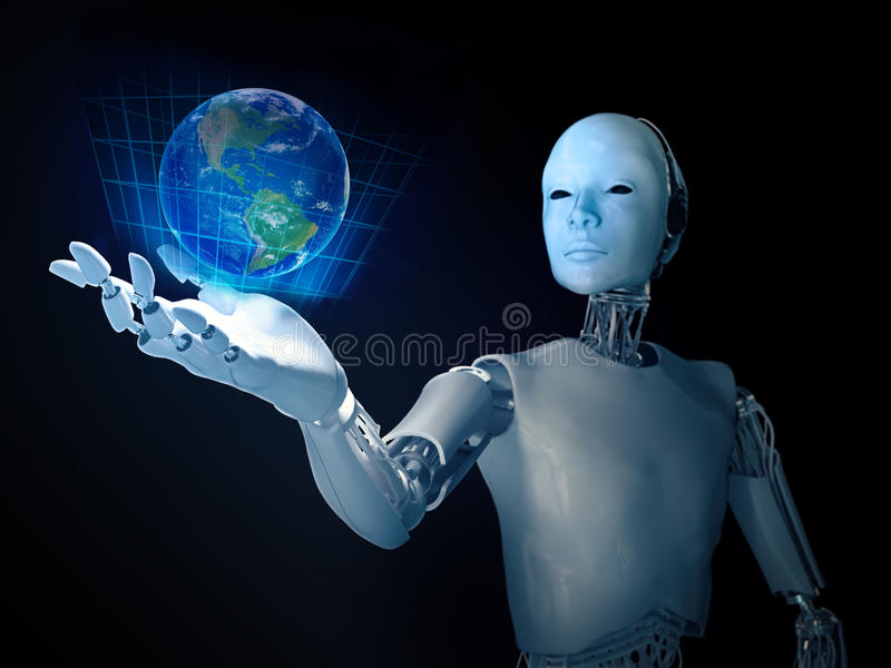 Android holding holographic Earth. Android holding a holographic Earth royalty free stock photography