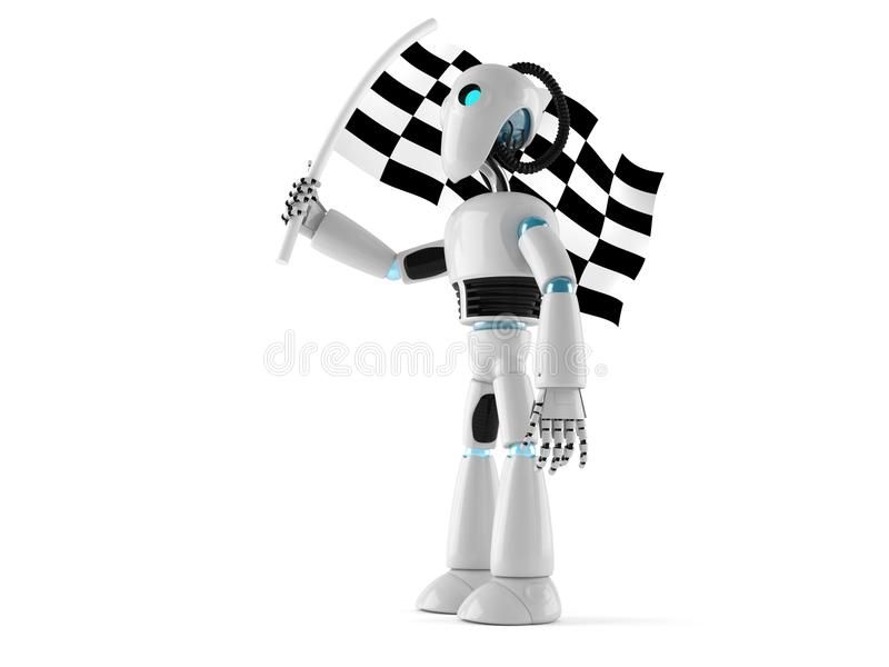 Android holding race flag royalty free illustration