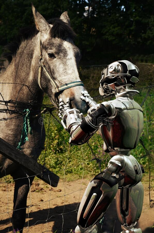 Android and horse friendship stock image