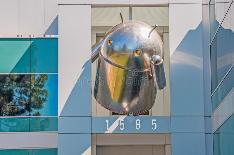 Android icon at the top of a Google's Corporate headquarters. MOUNTAIN VIEW, CA - MAY 19, 2013: Large-sized Android icon at the top of a Google's Corporate royalty free stock images