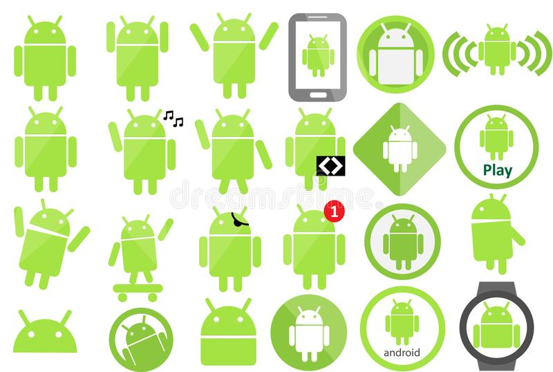 Android ikony kolekcja ilustracji