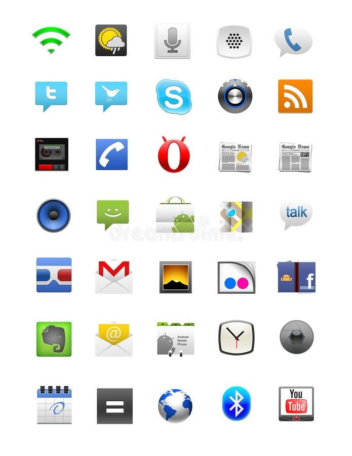 Android ikony set ilustracji