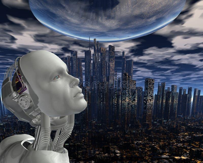 Android, inteligência cybernetic ilustração do vetor