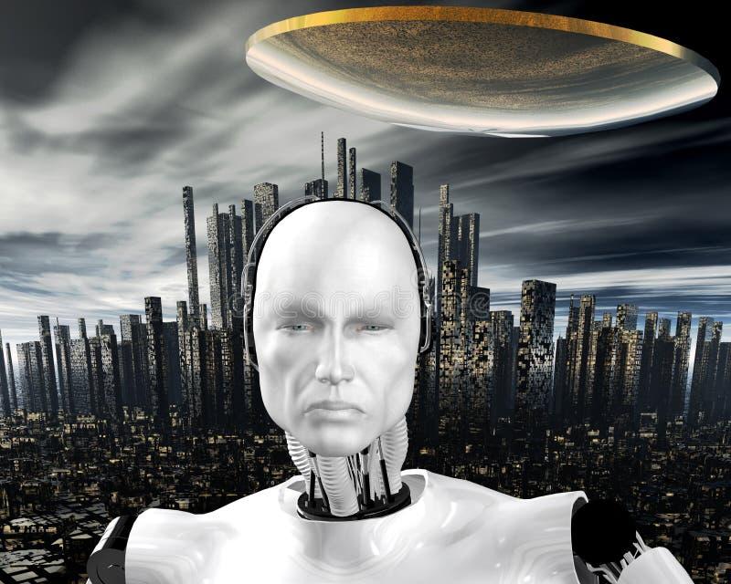 Android, intelligenza cibernetica illustrazione di stock