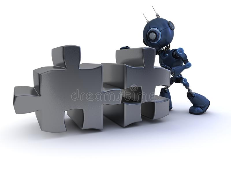 Android with Jigsaw puzzle stock illustration
