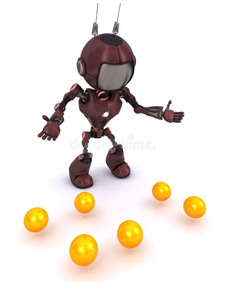 Android juggler. 3D Render of an Android juggler stock illustration