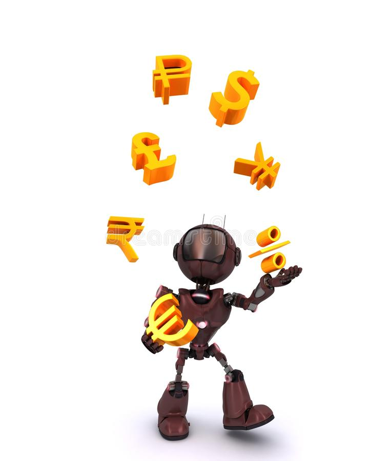 Android juggling finances. 3D Render of an Android juggling finances vector illustration
