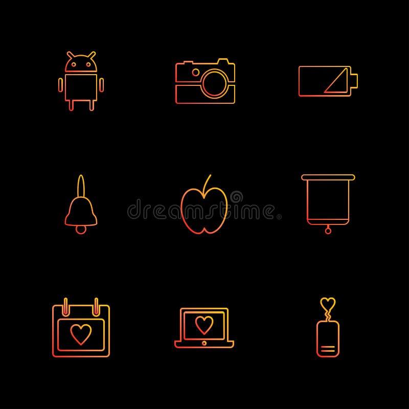 Android, Kamera, Batterie, Glocke, Apfel, Brett, celender, L vektor abbildung
