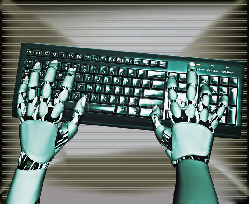 Android Keyboard. Illustration of a pair of android hands typing at a keyboard stock illustration