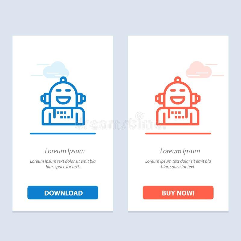 Android, Kunstmatig, de Emotie, Emotioneel, Voelend Blauwe en Rode Download en kopen nu de Kaartmalplaatje van Webwidget vector illustratie