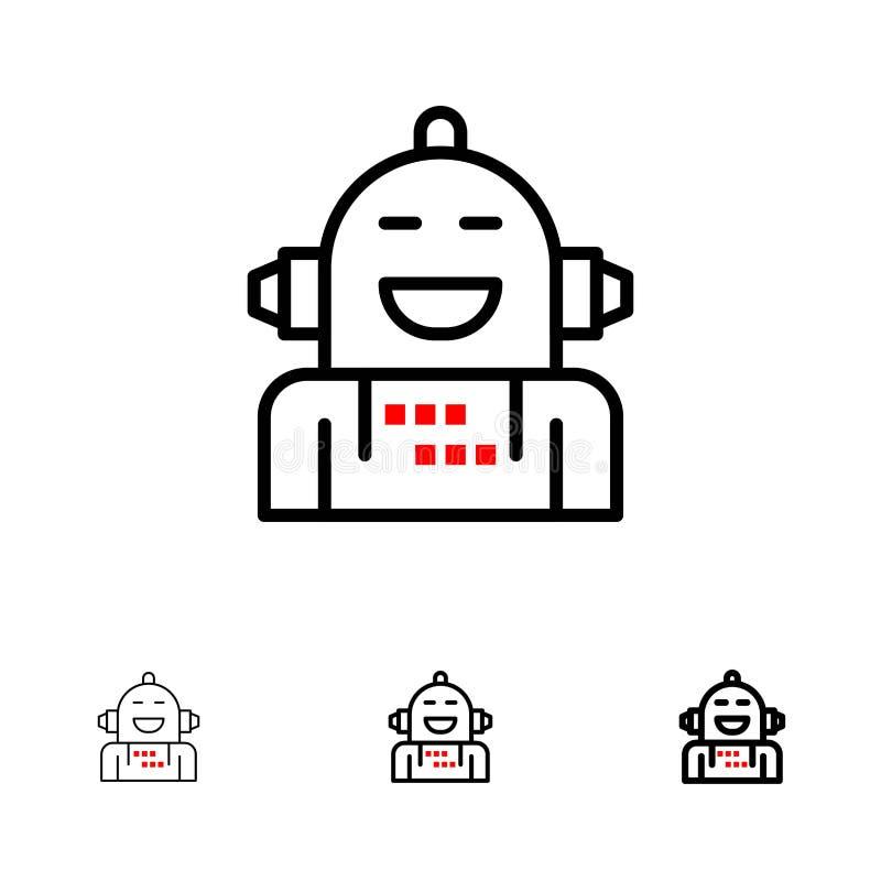 Android, Kunstmatig, Emotie, Emotioneel, Voelend de Gewaagde en dunne zwarte reeks van het lijnpictogram vector illustratie