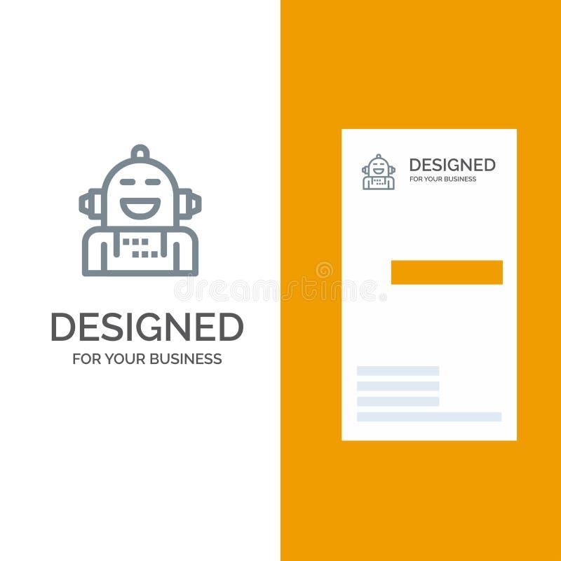 Android, Kunstmatig, Emotie, Emotioneel, Voelend het Malplaatje van Grey Logo Design en van het Visitekaartje royalty-vrije illustratie