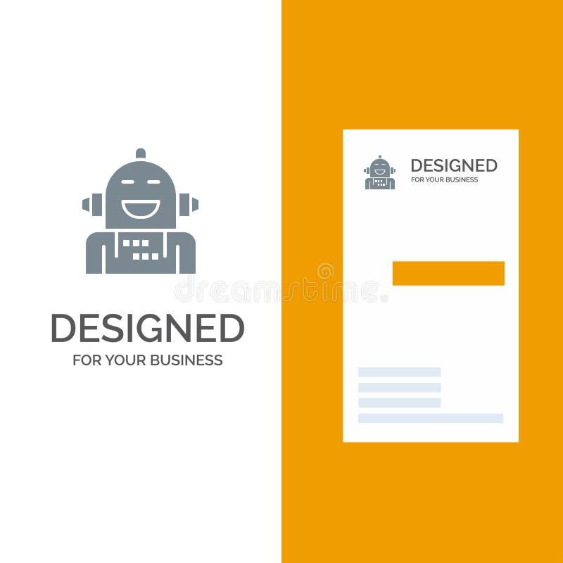 Android, Kunstmatig, Emotie, Emotioneel, Voelend het Malplaatje van Grey Logo Design en van het Visitekaartje stock illustratie
