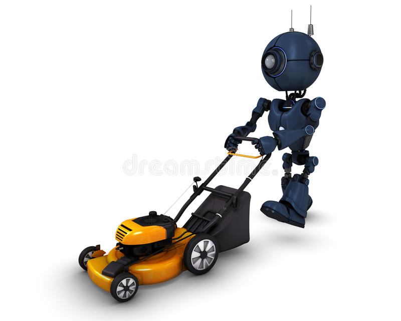 Android with lawn mower vector illustration