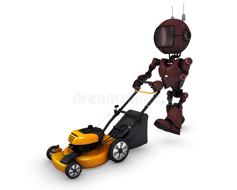 Android with lawn mower. 3D Render of an Android with lawn mower royalty free illustration