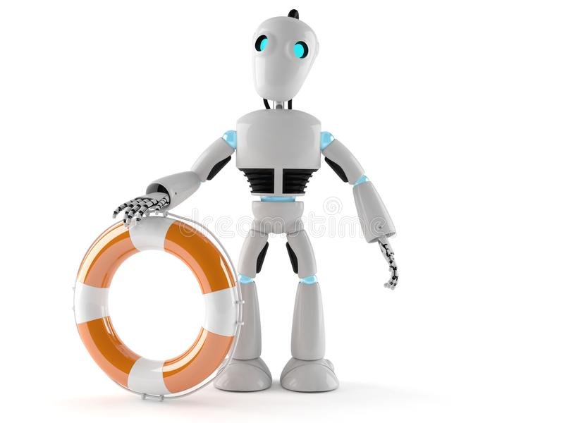 Android with life buoy. On white background royalty free illustration