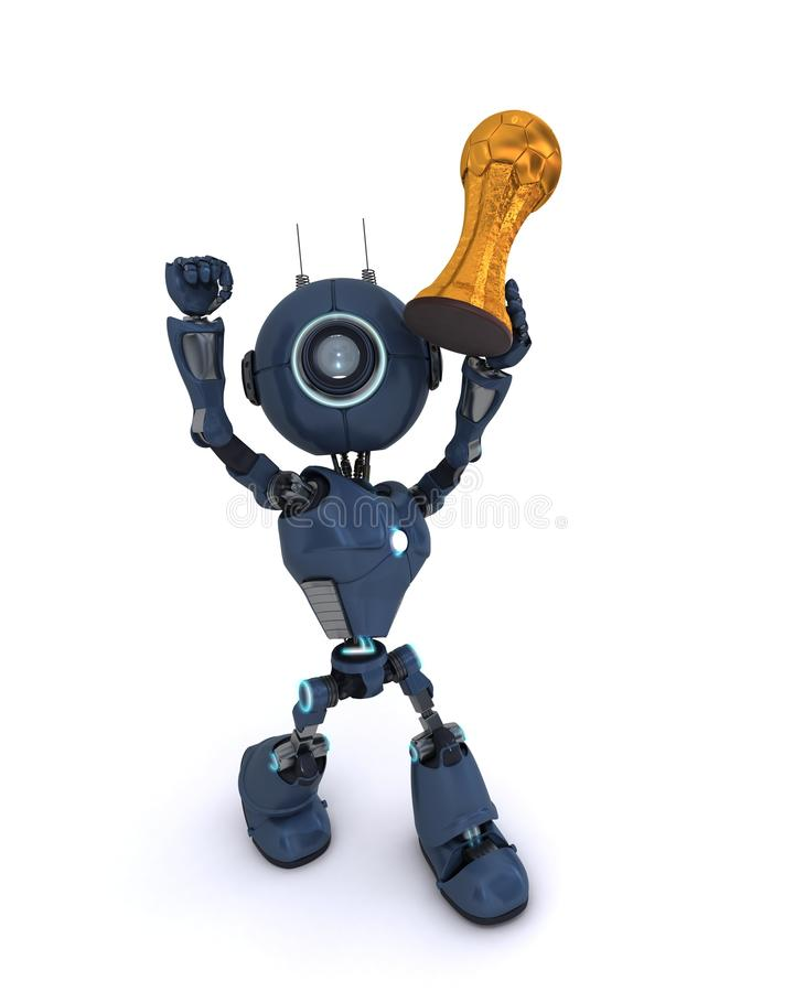 Android lifting football trophy. 3D Render of an Android lifting football trophy stock illustration