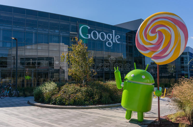 Android Lollipop replica. MOUNTAIN VIEW, CA/USA - NOV, 2014: Exterior view of Googles Googleplex Corporate headquarters. Google is a multinational company royalty free stock photo