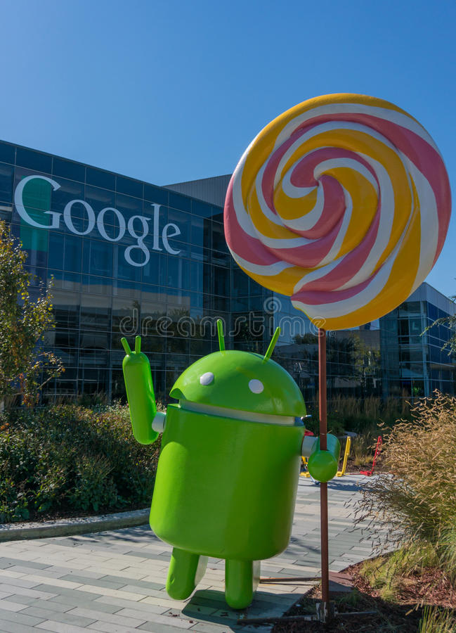 Android Lollipop replica. MOUNTAIN VIEW, CA/USA - NOV, 2014: Exterior view of Googles Googleplex Corporate headquarters. Google is a multinational company stock image