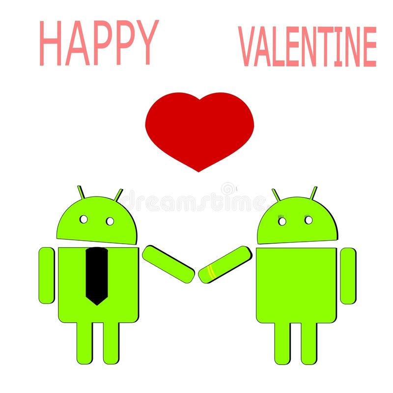 Android lovers with heart stock illustration