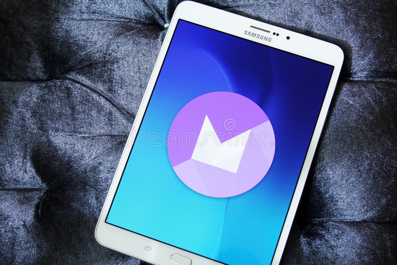 Android Marshmallow logo. On samsung tab s2. it is the eighth major version of the Android operating system royalty free stock image