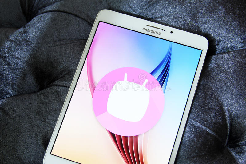 Android Marshmallow logo. On samsung tab s2. it is the eighth major version of the Android operating system stock image
