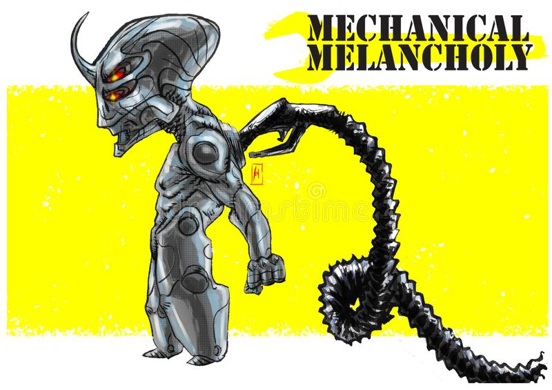 Android-mecha mecchanical melancholie royalty-vrije illustratie