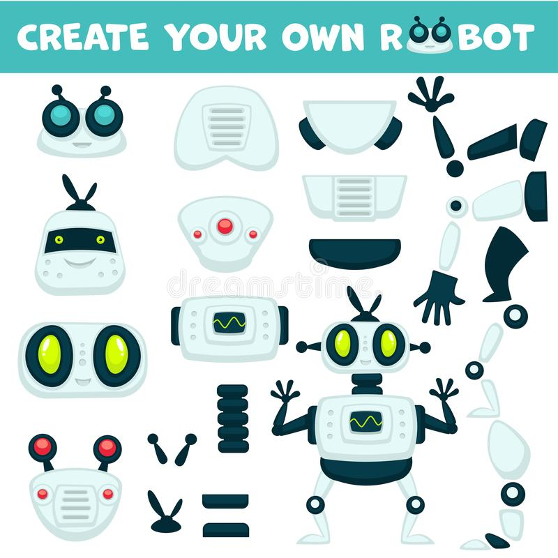 Android mechanism, robot constructor parts, isolated objects royalty free illustration