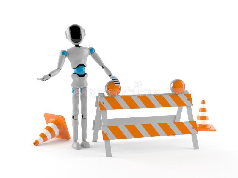 Android med barrikaden stock illustrationer