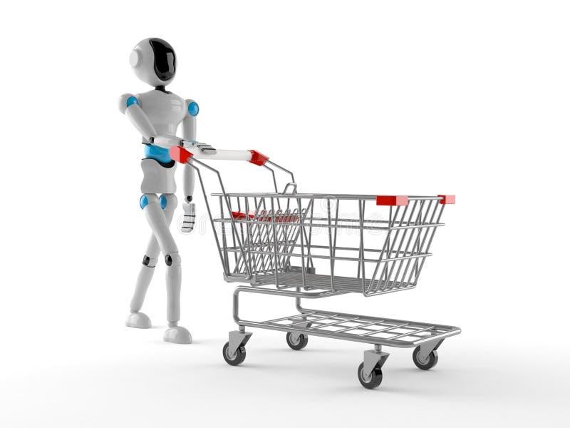 Android med shoppingvagnen stock illustrationer