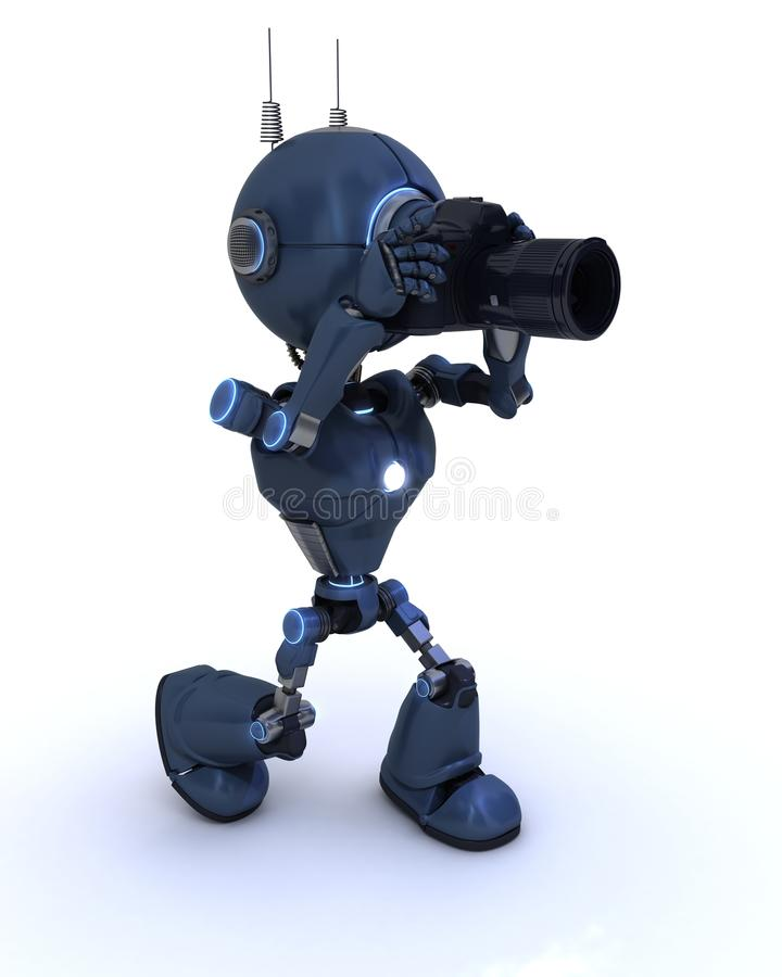 Android med SLR kameran vektor illustrationer