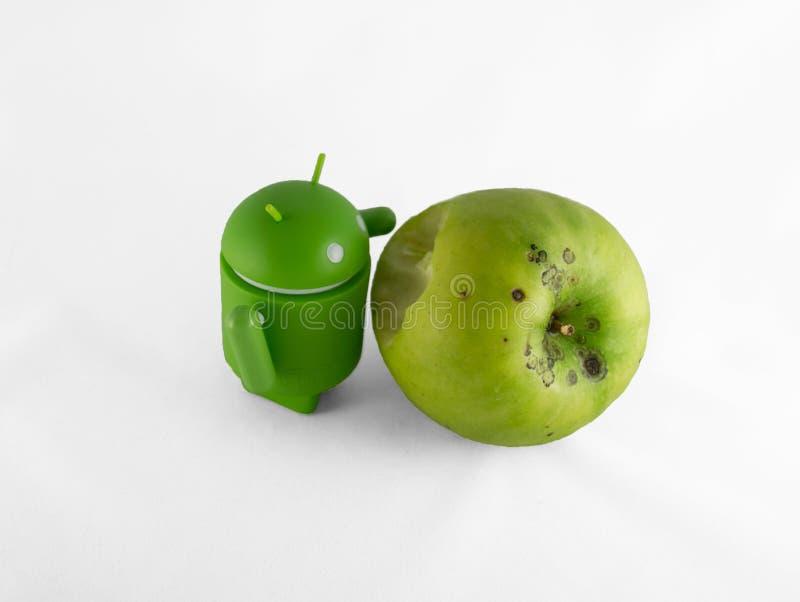 Android met appel stock illustratie