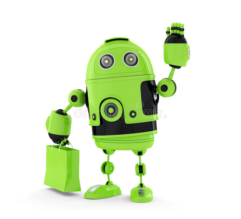 Android met het winkelen zak. royalty-vrije illustratie