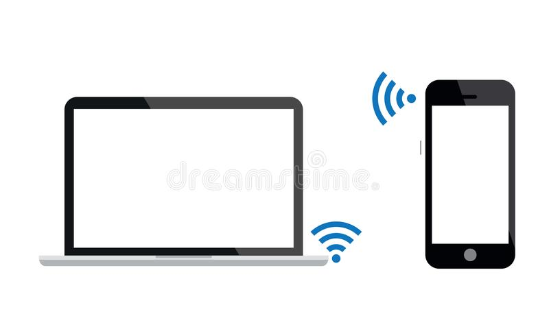 Android Mobile Phone Is Connected With Laptop By Wi-Fi. Android Mobile Phone Is Connected With Laptop by wifi. illustration of android touch screen mobile phone vector illustration