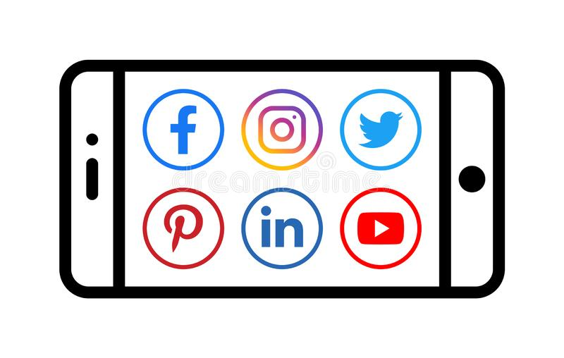 Android mobile phone icon with social media icons stock illustration