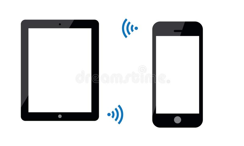 Android Mobile Phone And Android Ipad Tablet is Connected By Wi-Fi Wireless. Illustration of tow android touch screen mobile phone latest model. stylish touch stock illustration
